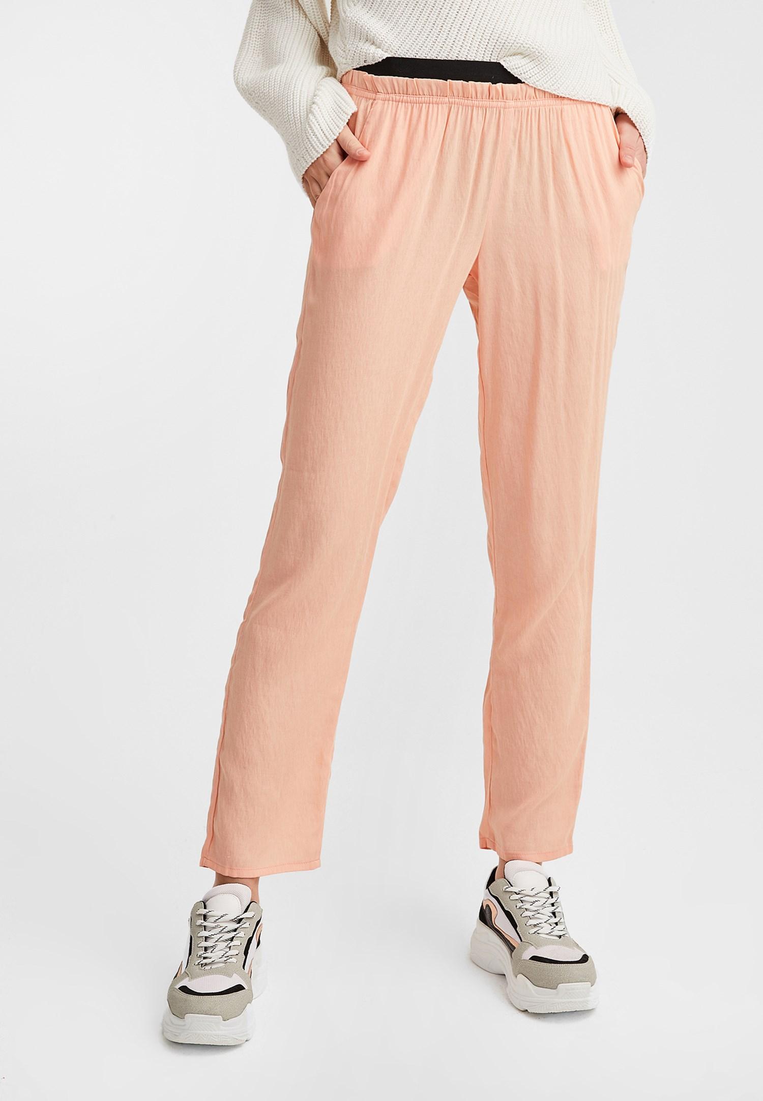 Bayan Kırmızı Beli Lastikli Pantolon
