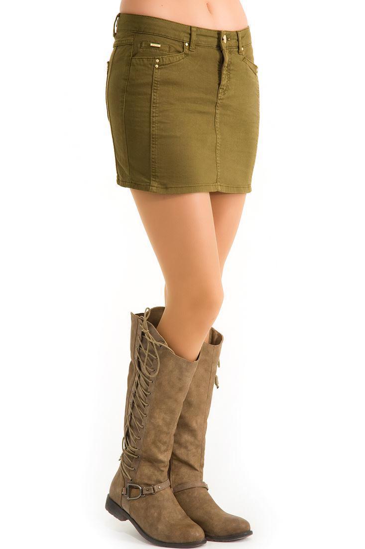 Bayan Yeşil Mini Etek