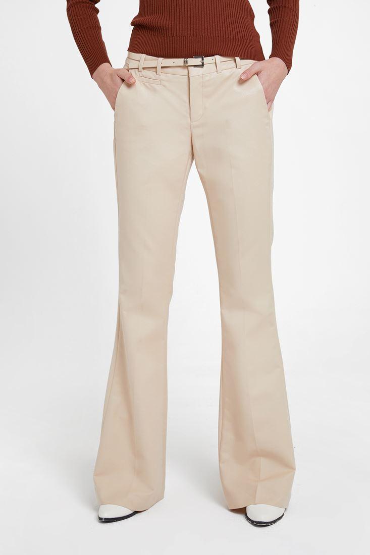 Krem Geniş Paça Klasik Pantolon