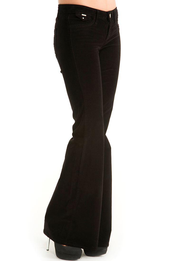 Siyah Kadife İspanyol Paça Pantolon