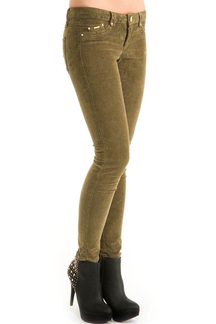 Yeşil  Kadife Dar Kesim Pantolon