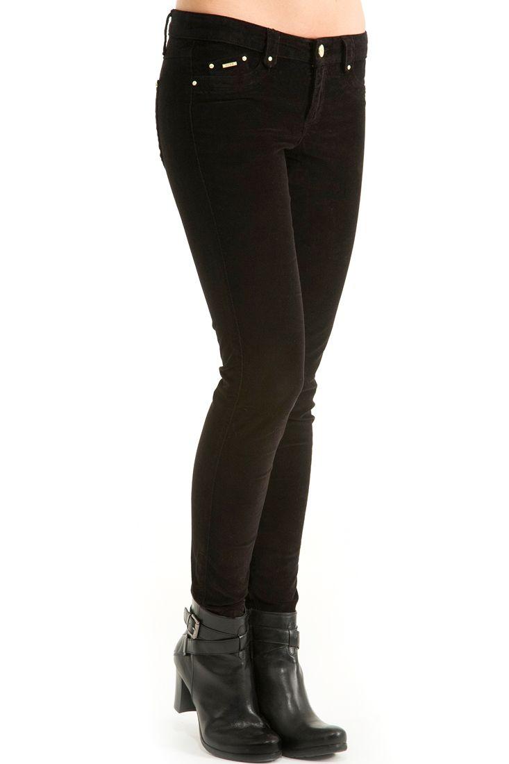 Siyah  Kadife Dar Kesim Pantolon