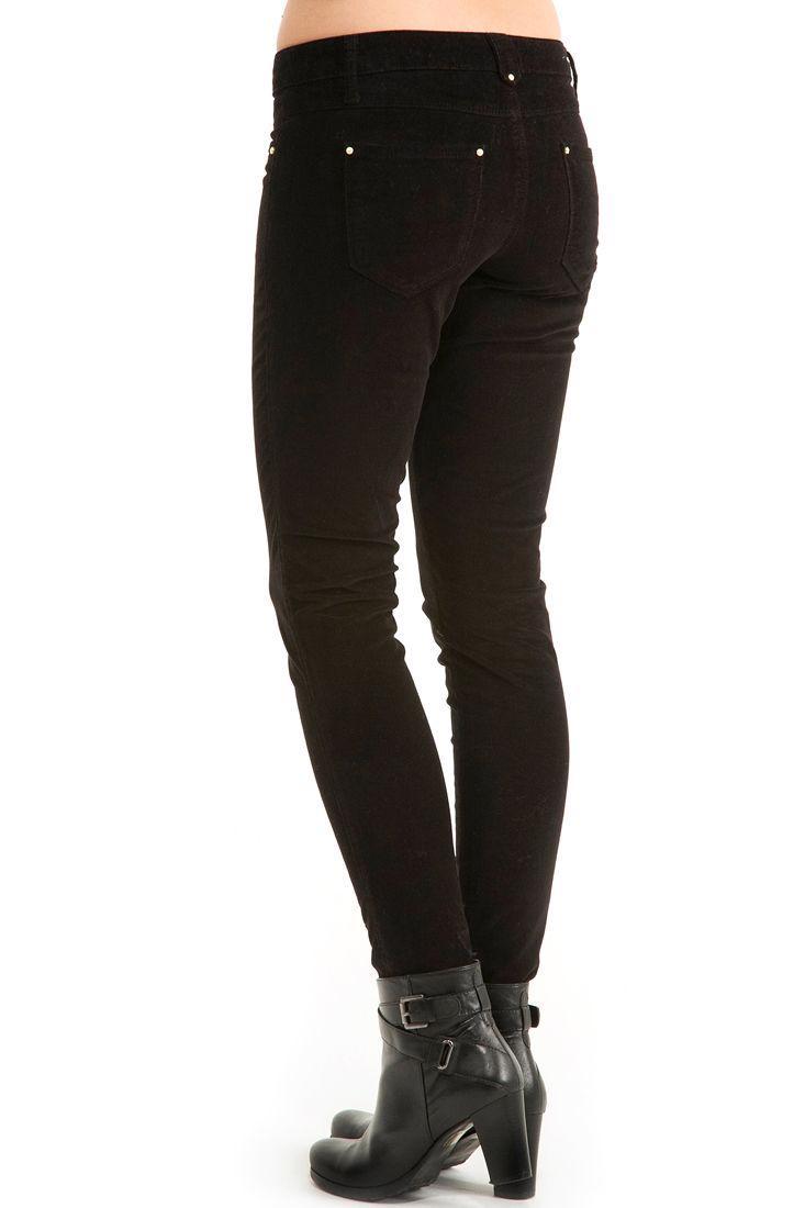 Bayan Siyah  Kadife Dar Kesim Pantolon