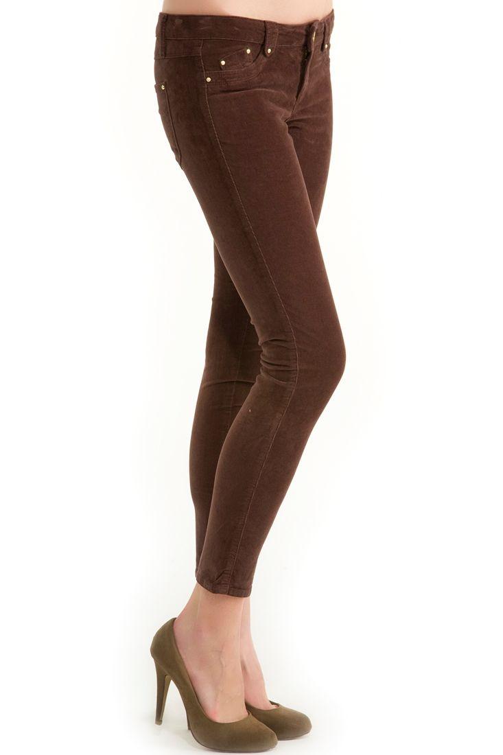 Kahverengi  Kadife Dar Kesim Pantolon