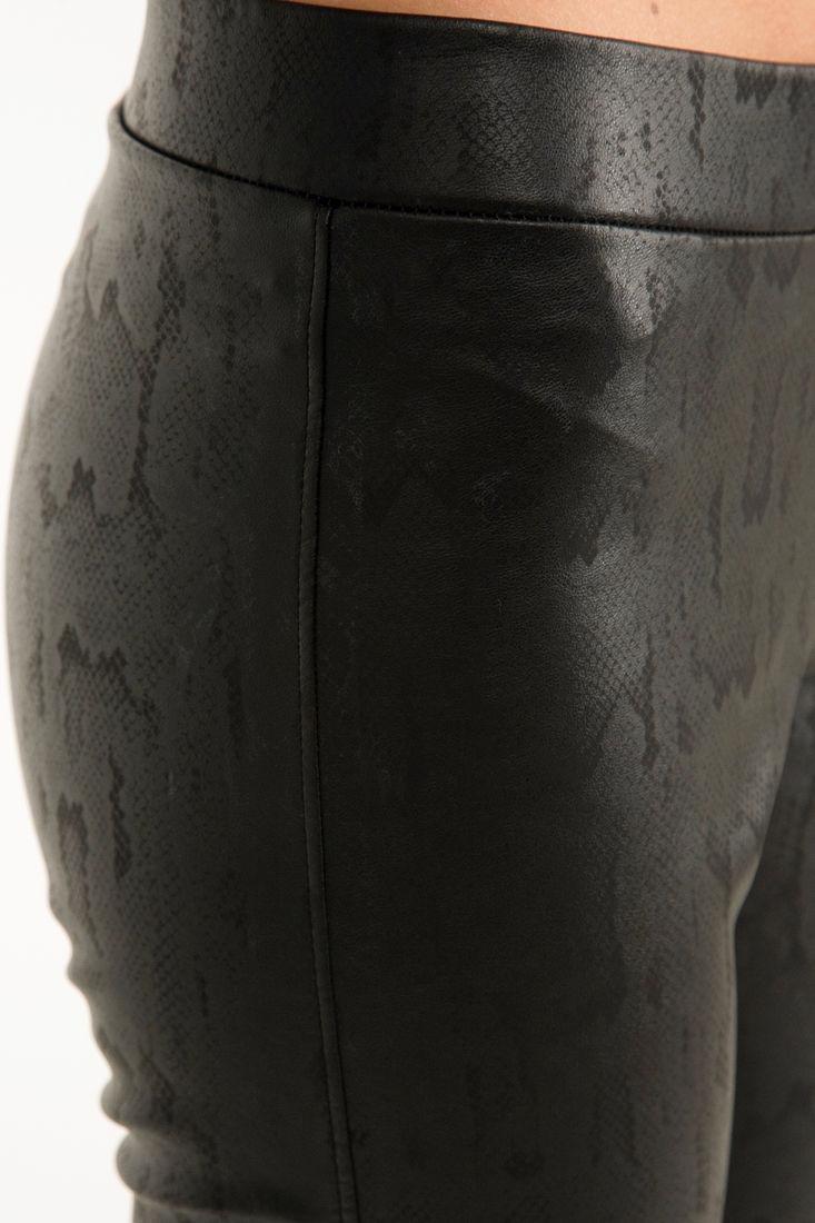 Bayan Siyah Yılan Derisi Desenli Tayt