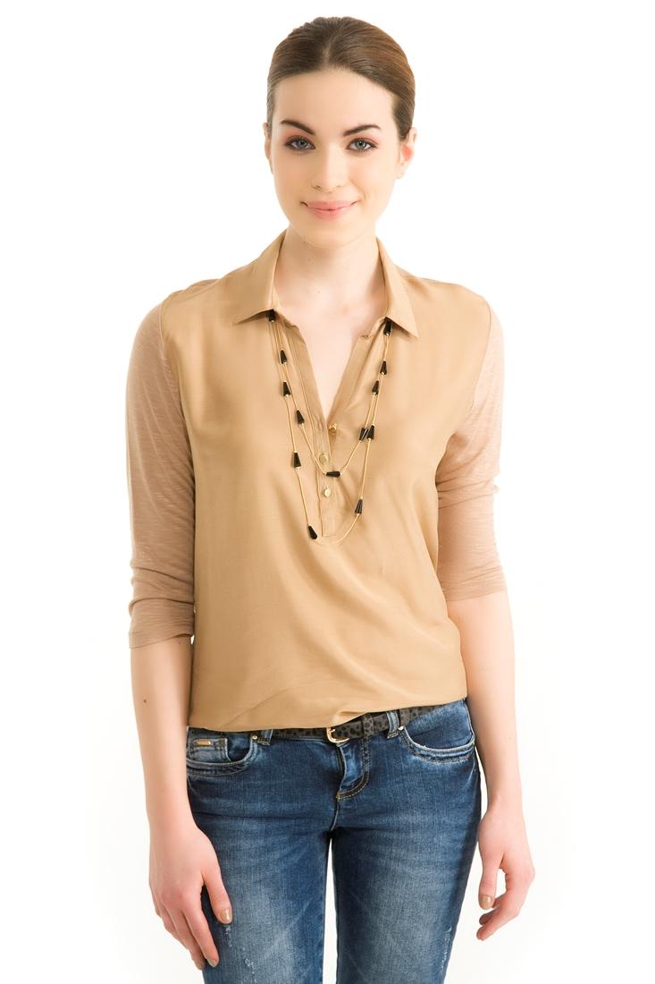 Kahverengi Yakalı Bluz