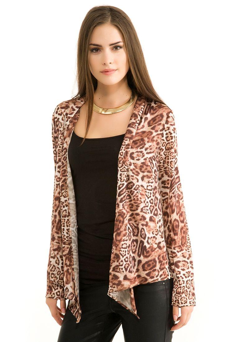 Kahverengi Desenli Uzun  Ceket