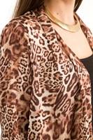 Bayan Kahverengi Desenli Uzun  Ceket