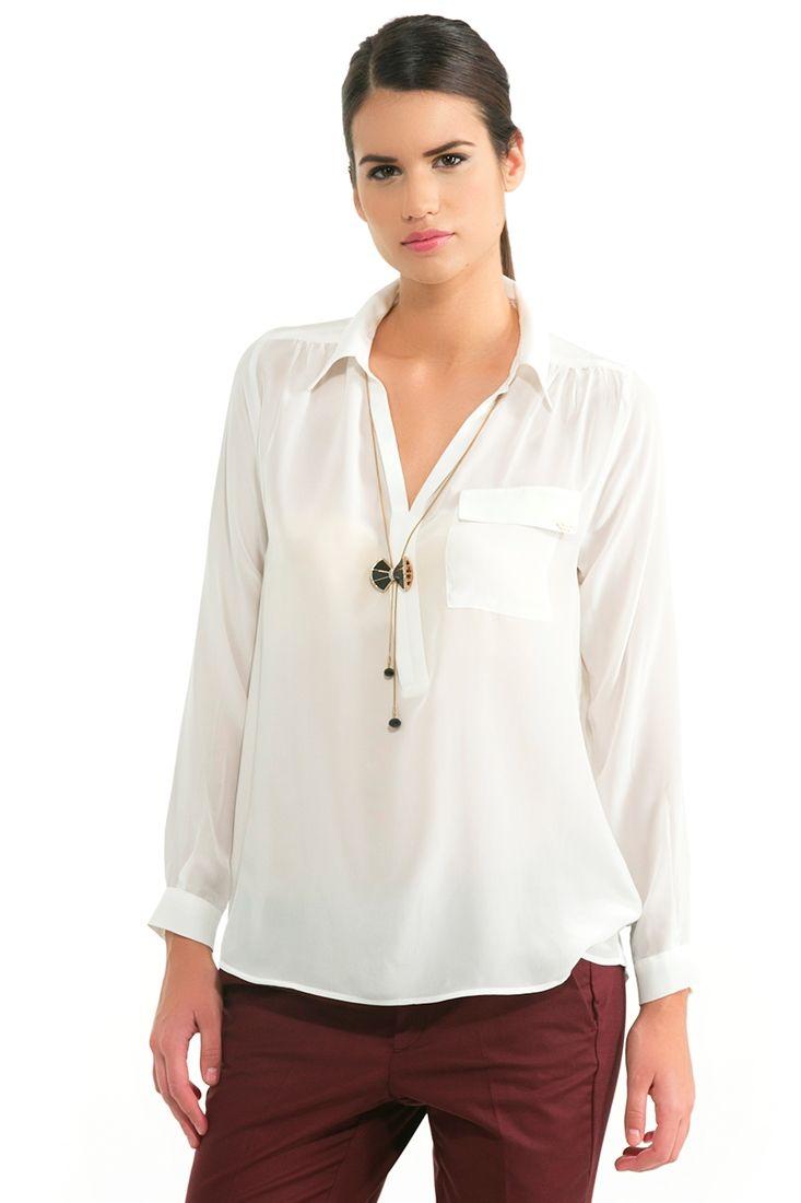 Krem İpek Gömlek
