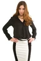 Bayan Siyah İpek Gömlek