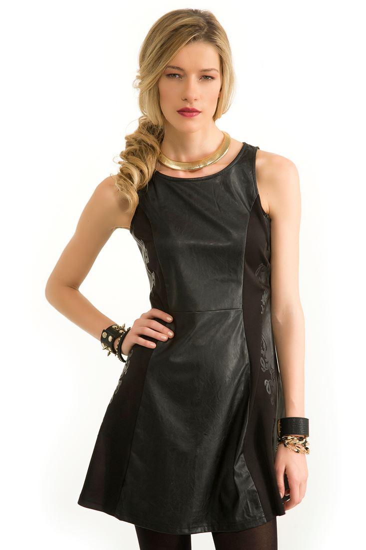Siyah Deri Görünümlü Elbise