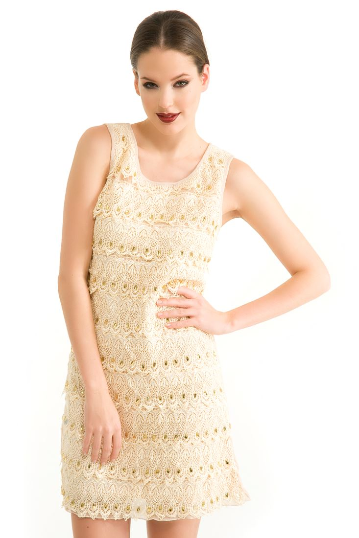 Krem Güpürlü Elbise