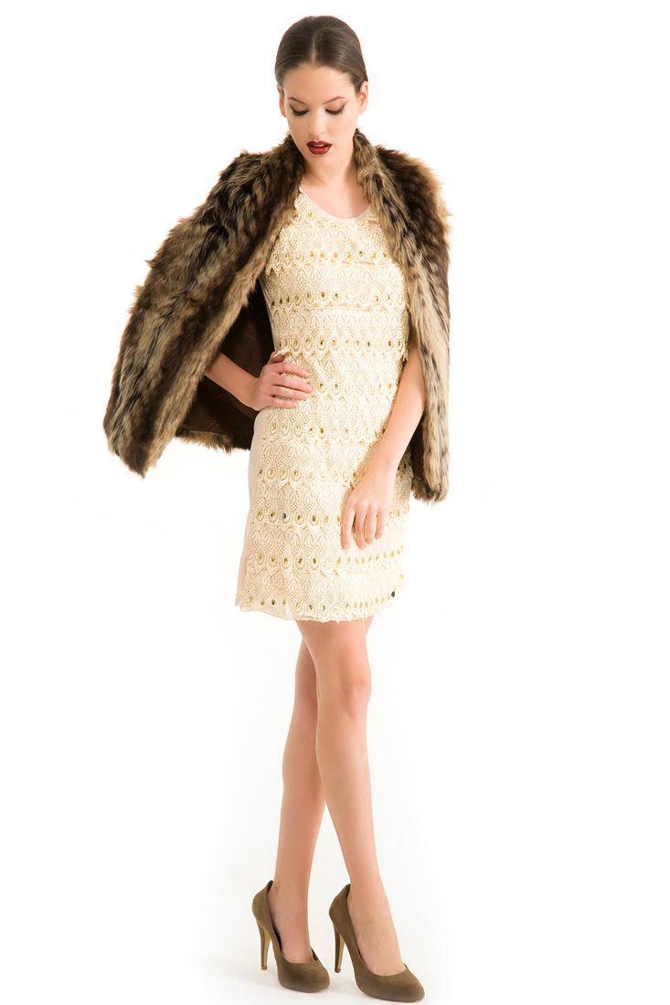 Bayan Krem Güpürlü Elbise