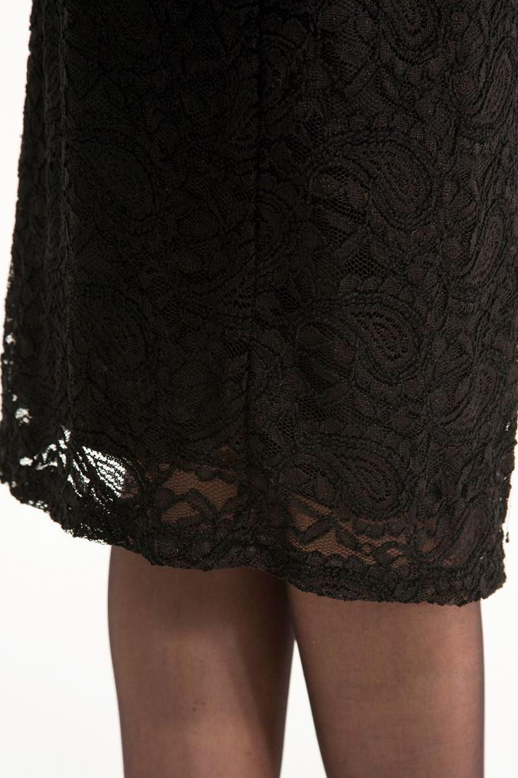 Bayan Siyah Dantelli Elbise