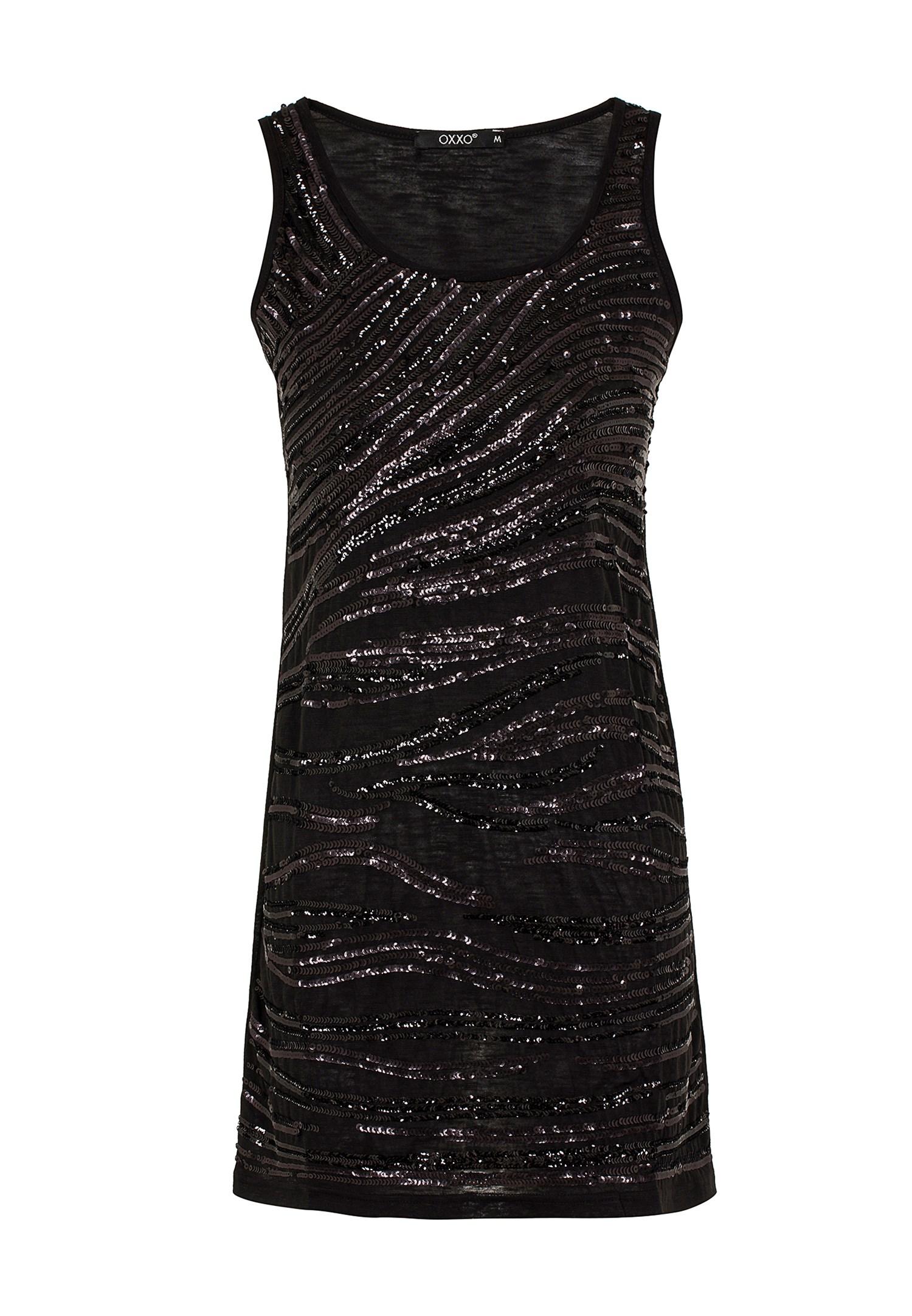 Bayan Siyah Pullu Kokteyl Elbisesi