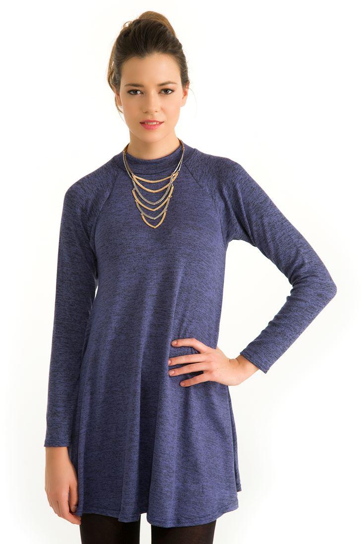 Lacivert Boğazlı Kısa Elbise