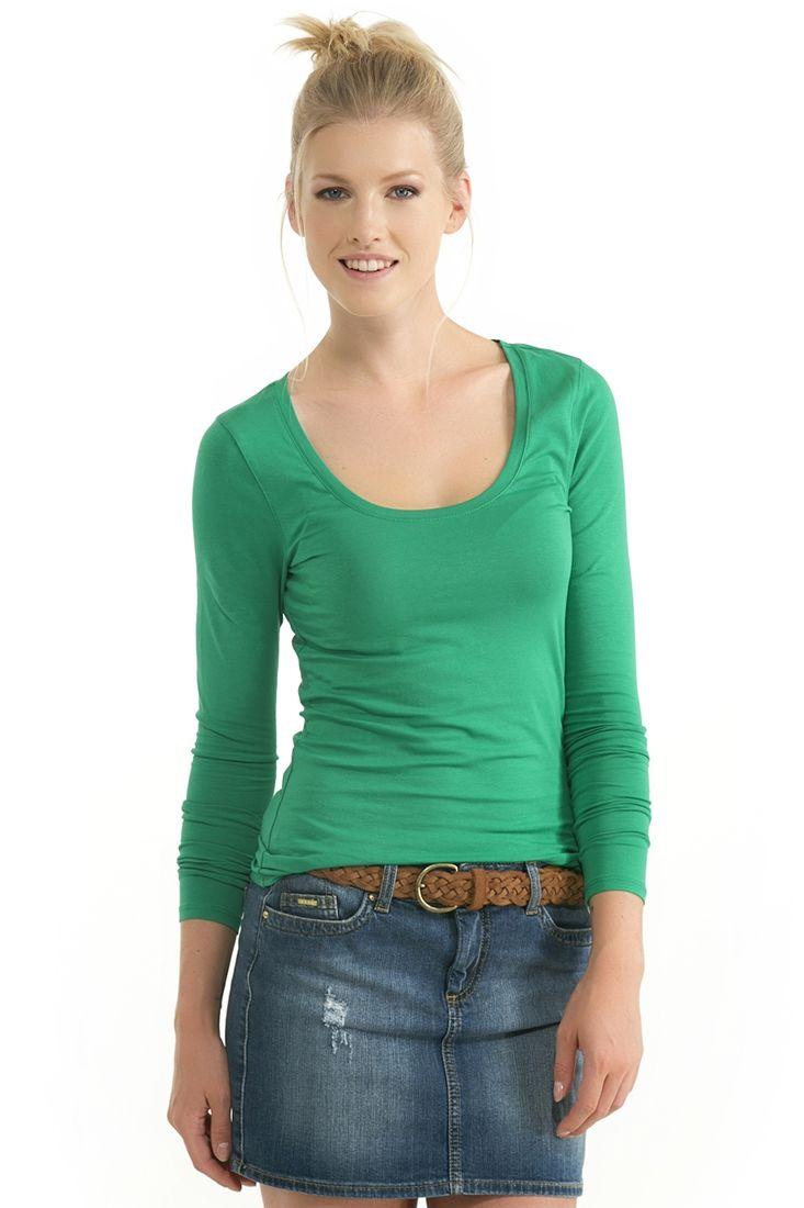 Yeşil U Yaka Uzun Kollu Tişört