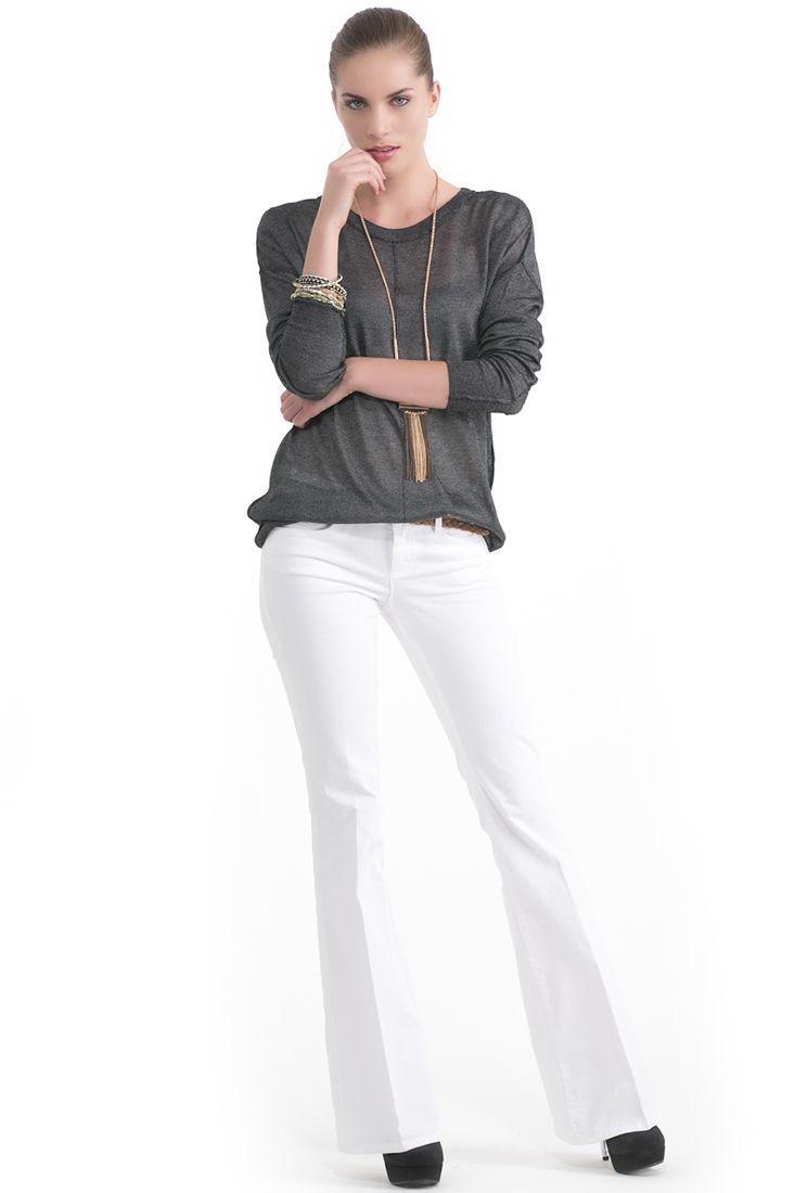 Bayan Beyaz Geniş Paça Pantolon