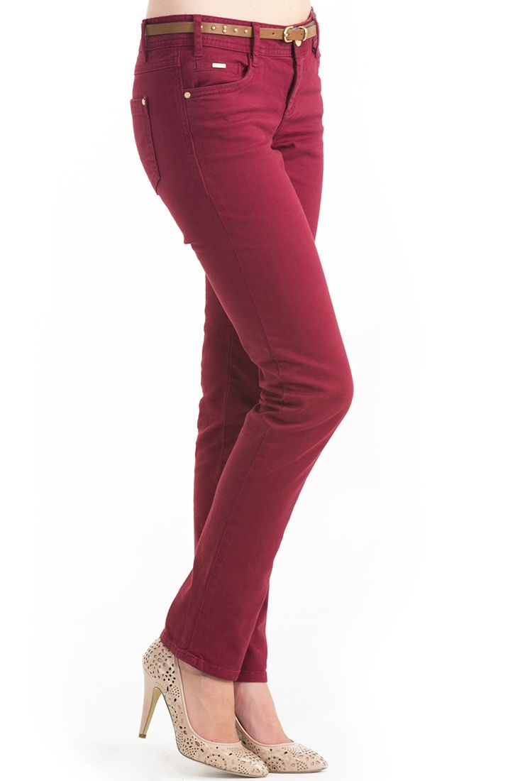 Kırmızı Dar Kesim Pantolon