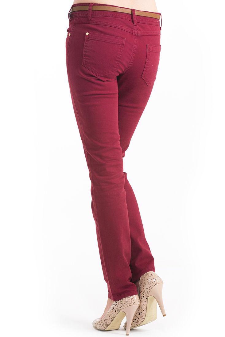 Bayan Kırmızı Dar Kesim Pantolon