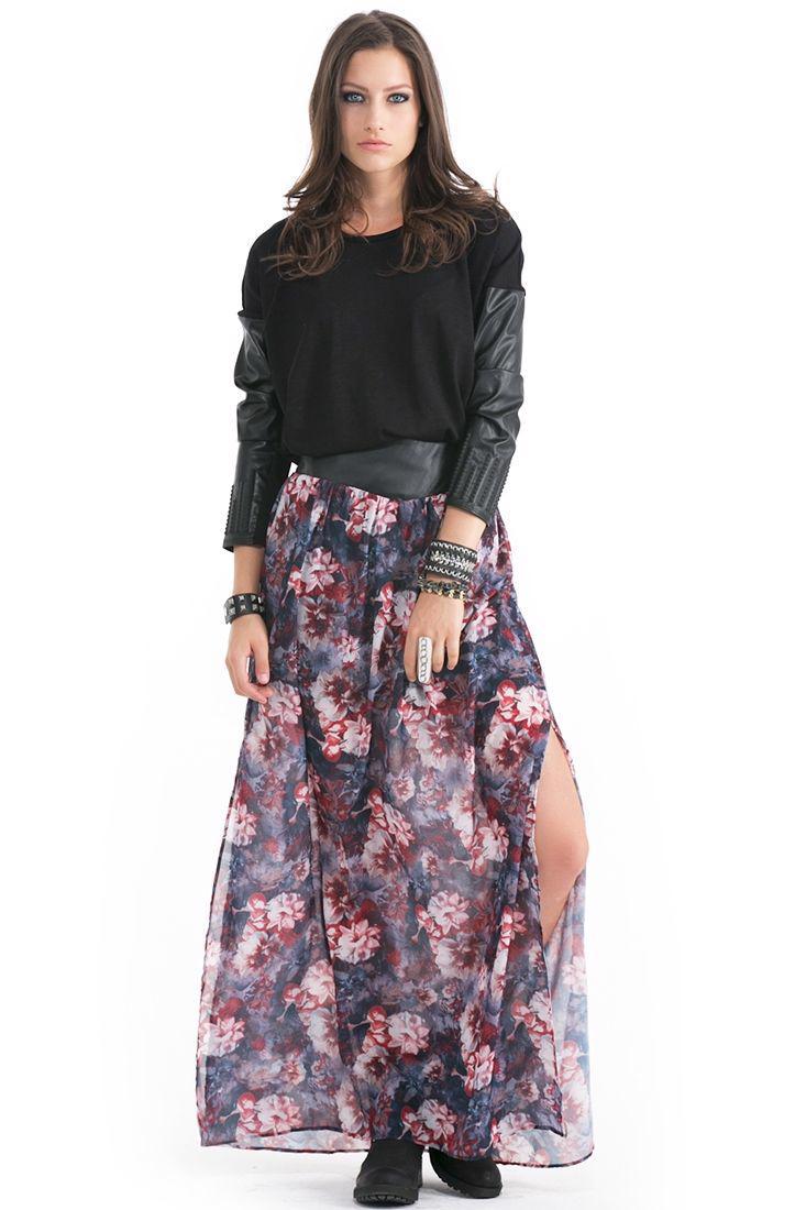 Bayan Çok Renkli Çiçekli Uzun Etek