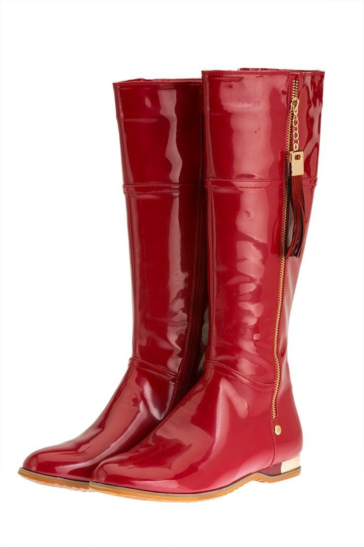 Kırmızı Rugan Çizme
