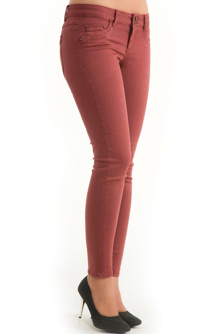 Mor Dar Kesim Yıkamalı Pantolon