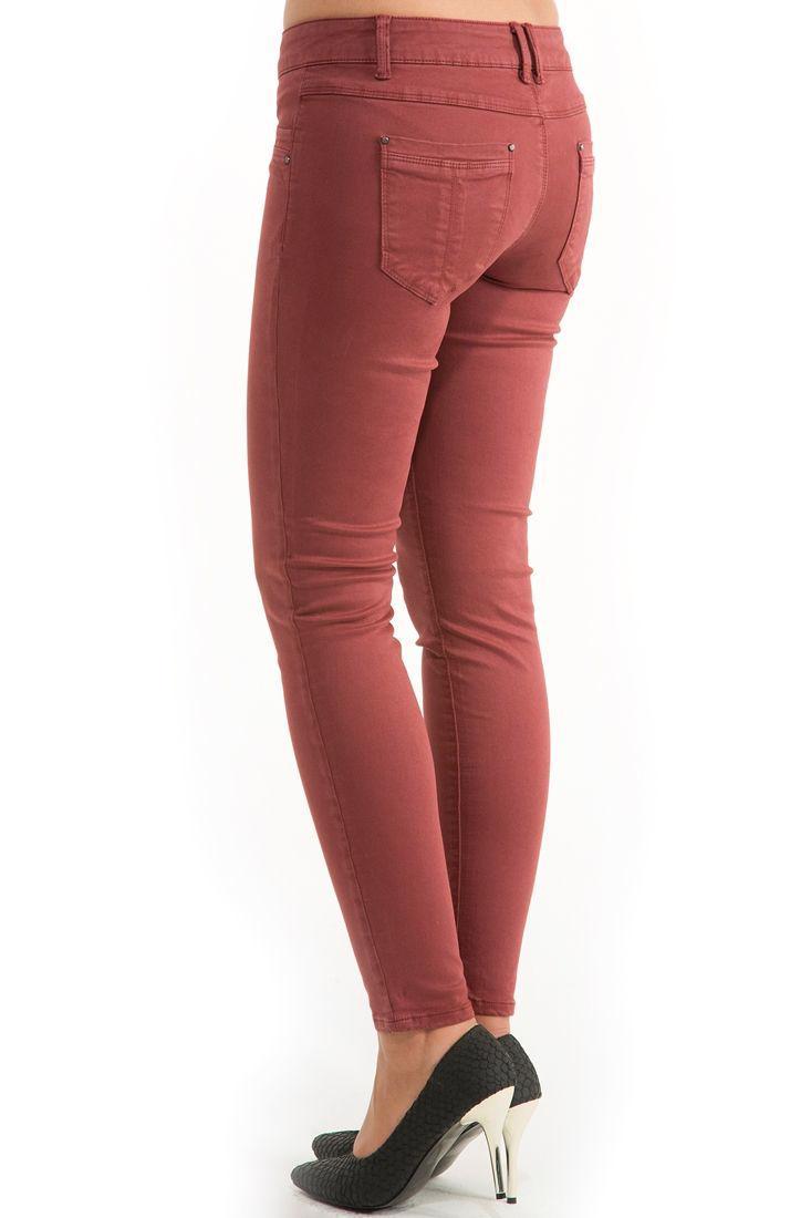 Bayan Mor Dar Kesim Yıkamalı Pantolon