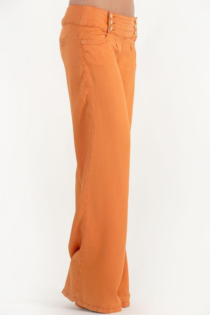 Turuncu Bol Kesim Belinde 3 Düğmeli Pantolon