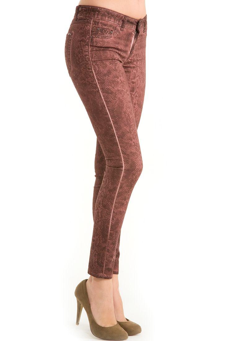 Krem Yılan Desenli Dar Pantolon