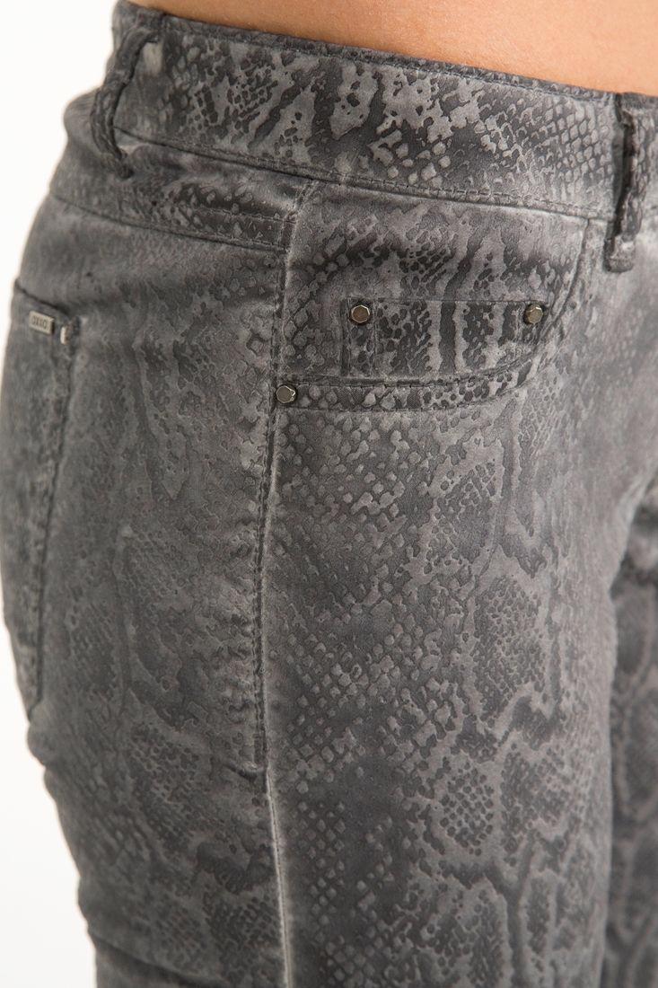 Bayan Gri Yılan Desenli Dar Pantolon