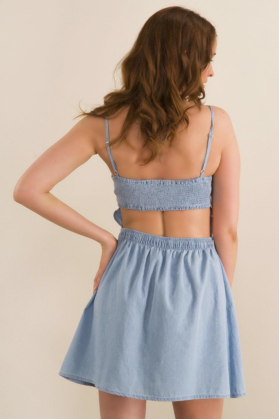 Bayan Mavi Denim Elbise