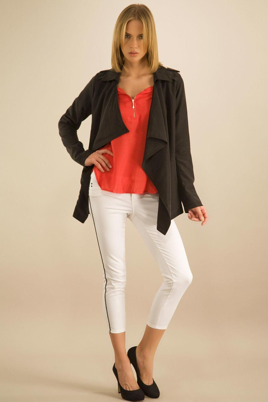 Bayan Siyah Önü Volanlı Ceket
