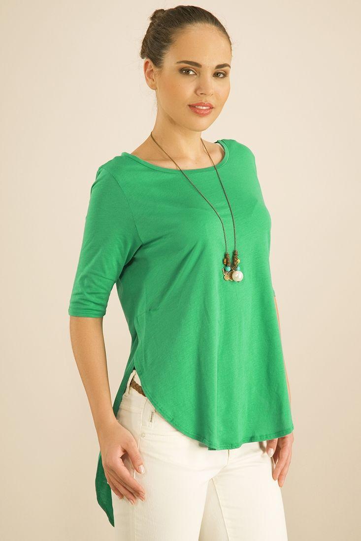 Yeşil Arkası Uzun Bluz