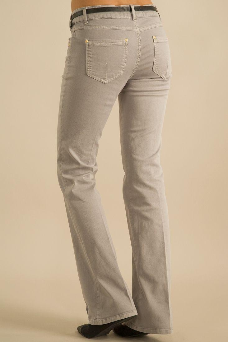 Bayan Gri Boru Paça Pantolon