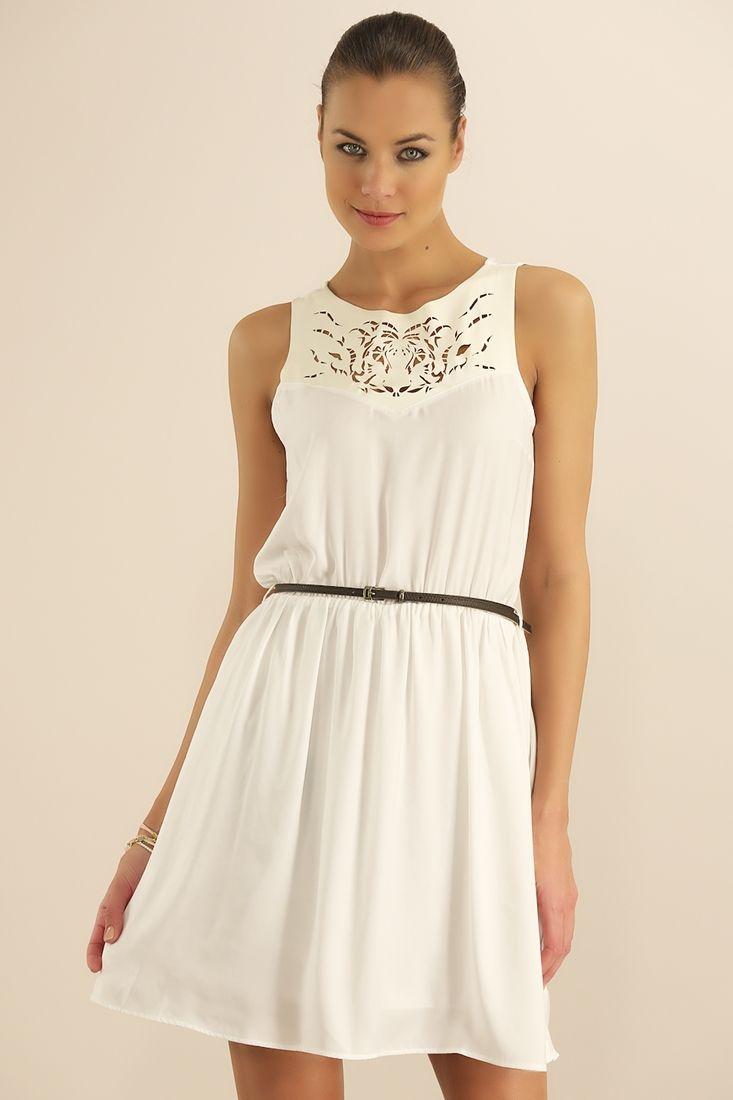Krem Yakası Lazer Kesim Elbise