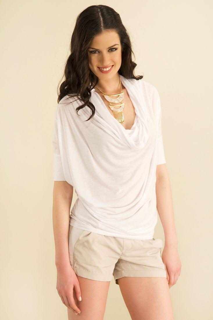 Beyaz Degaje Yaka Bluz