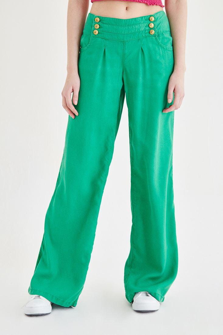 Yeşil Bol Kesim Altın Renk Düğme Detaylı Pantolon