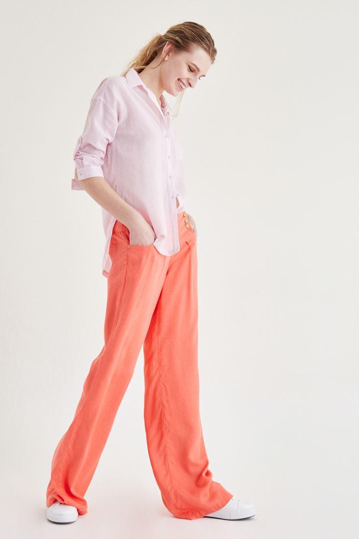 Turuncu Bol Kesim Altın Renk Düğme Detaylı Pantolon