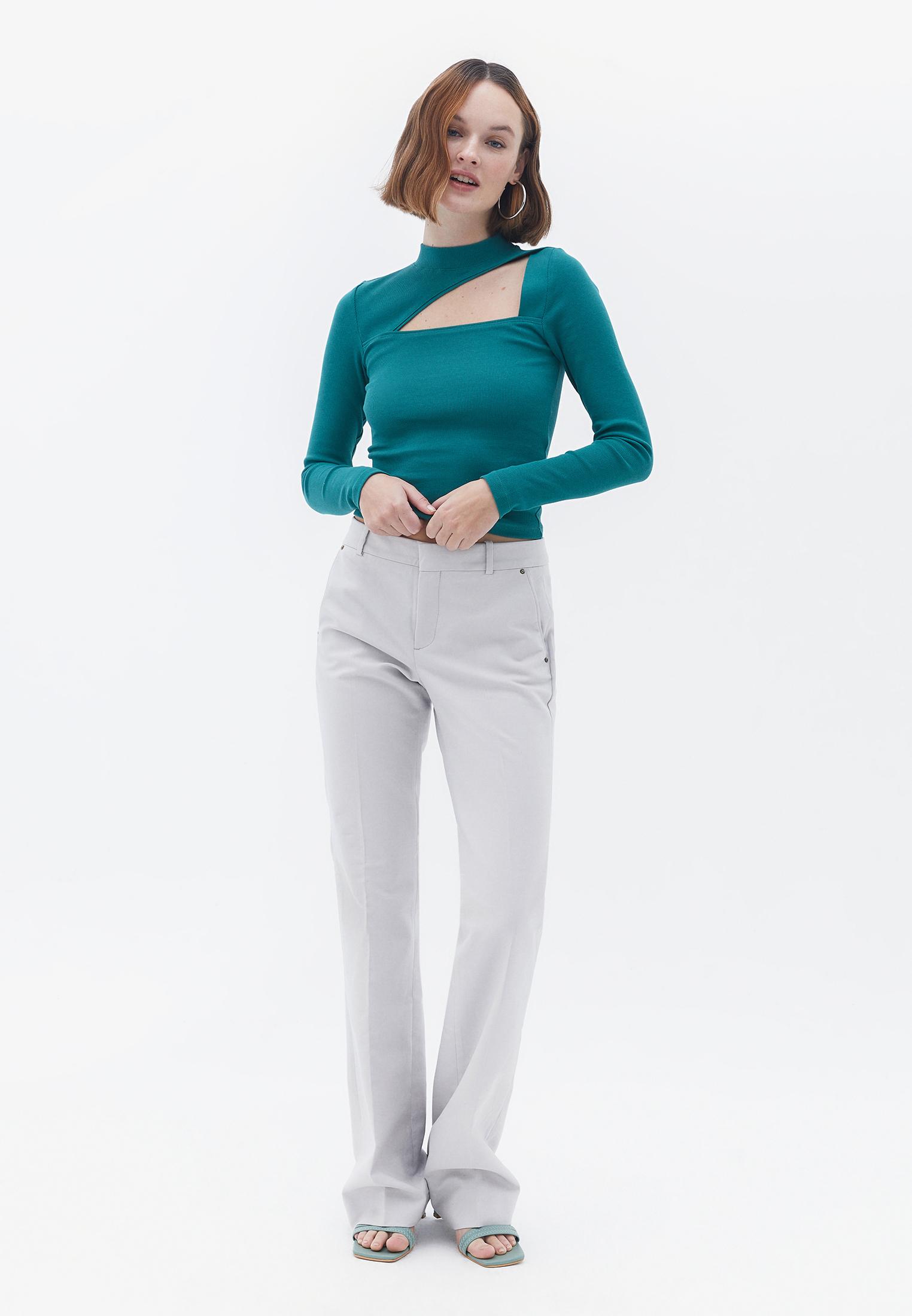 Bayan Gri Bol Paça Pantolon