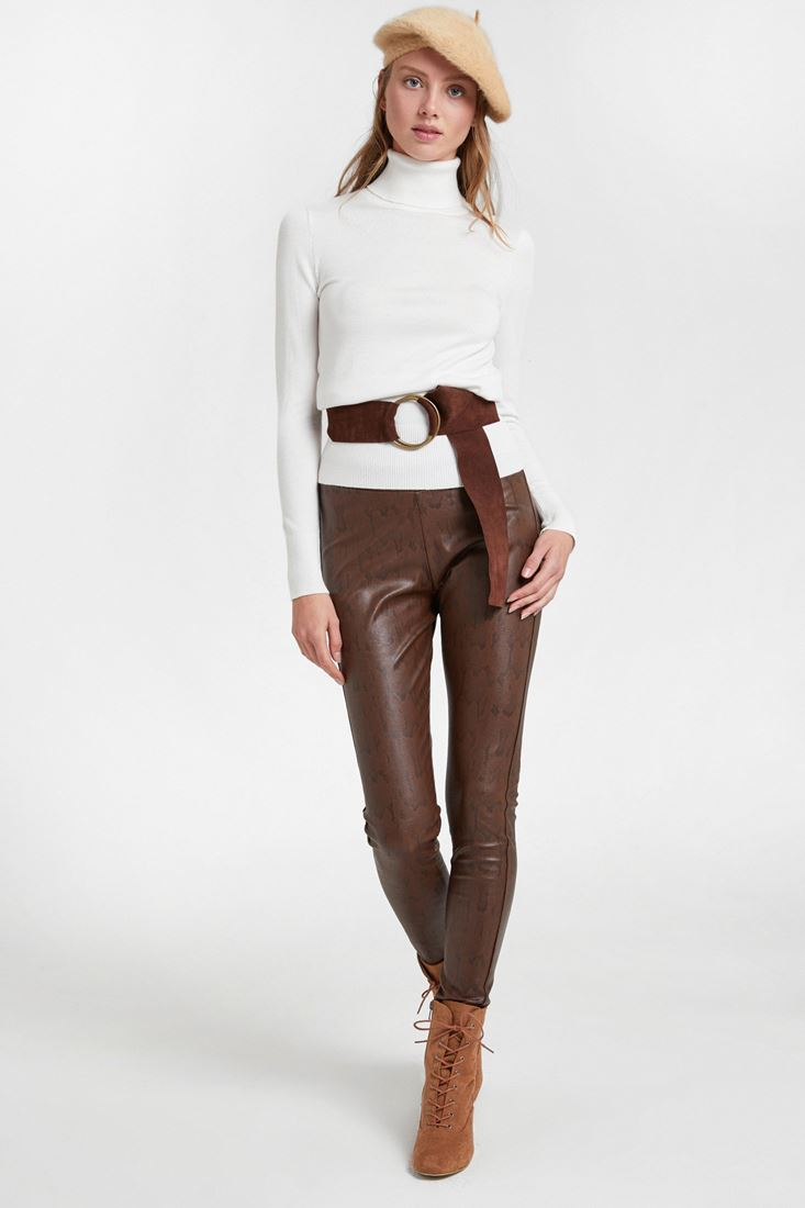 Brown Snakeskin Legging