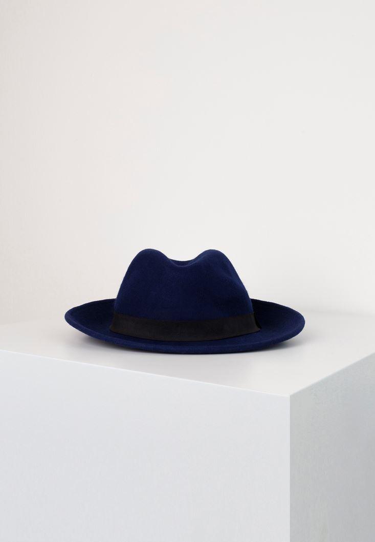Mavi Siyah Şeritli Şapka