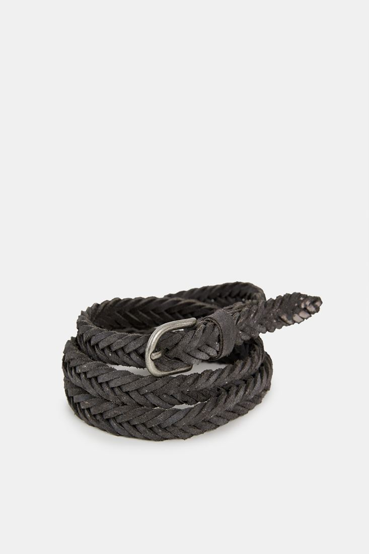 Grey Knitted Leather Belt