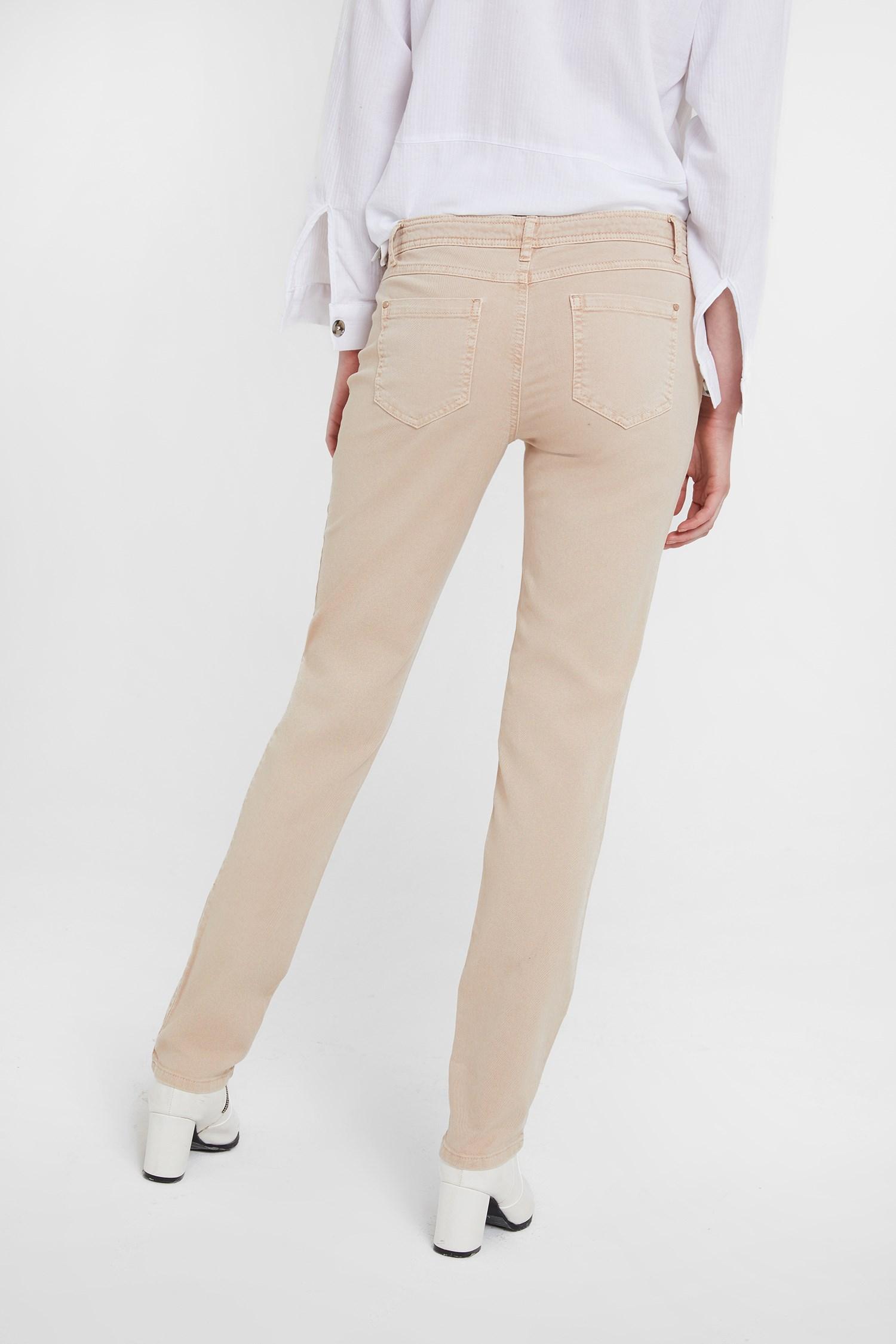 Bayan Krem Simli Pantolon