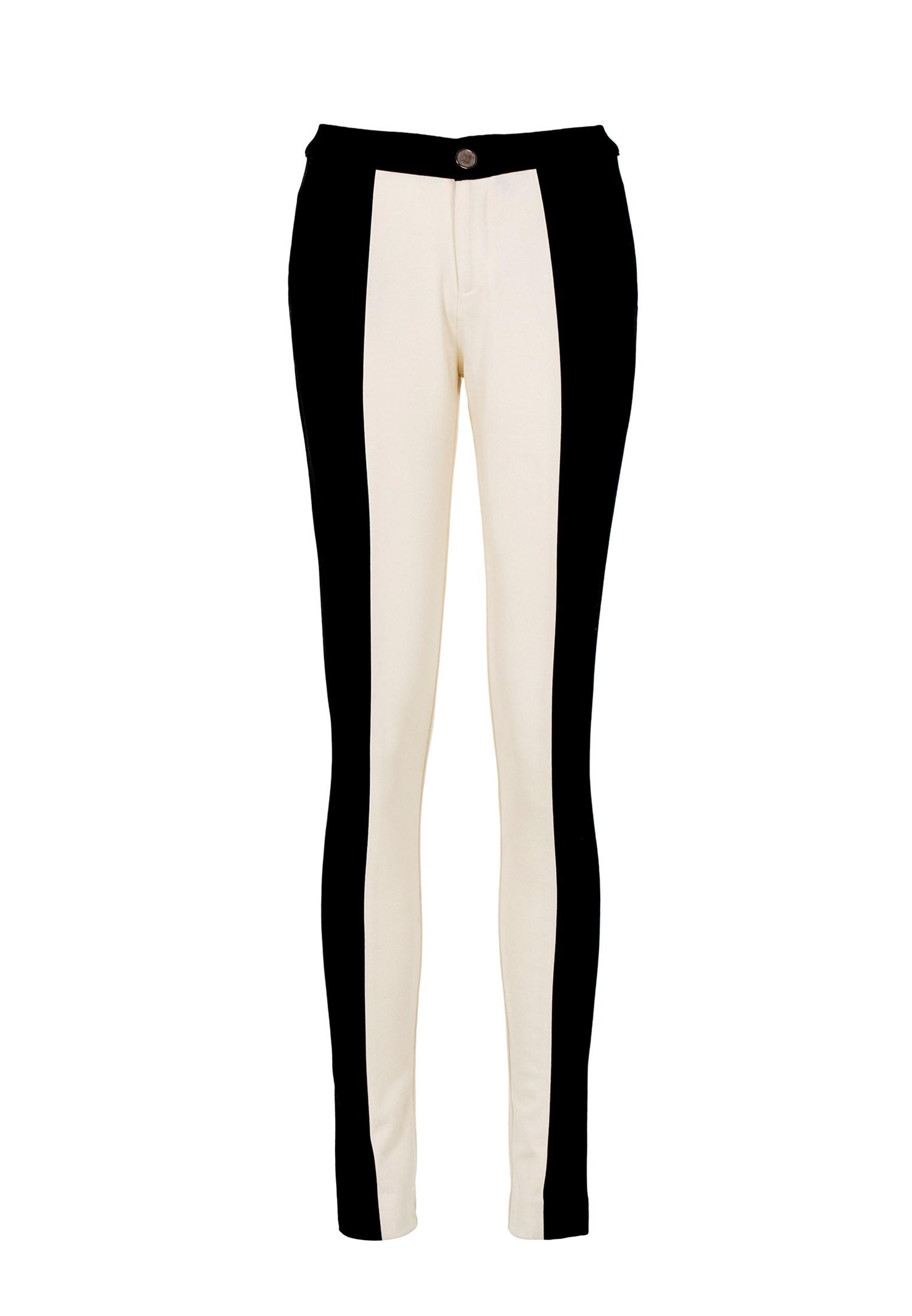 Bayan Çok Renkli Yanları Siyah Şeritli Pantolon