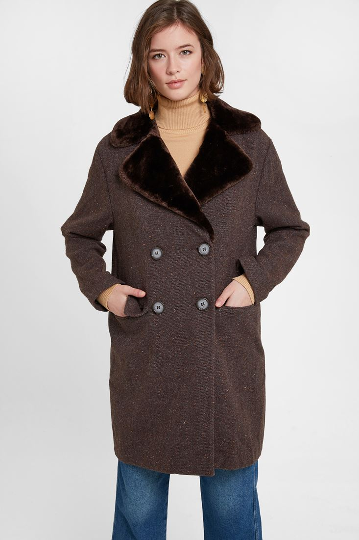 Brown Coat with Faux Fur