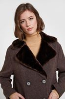 Women Brown Coat with Faux Fur