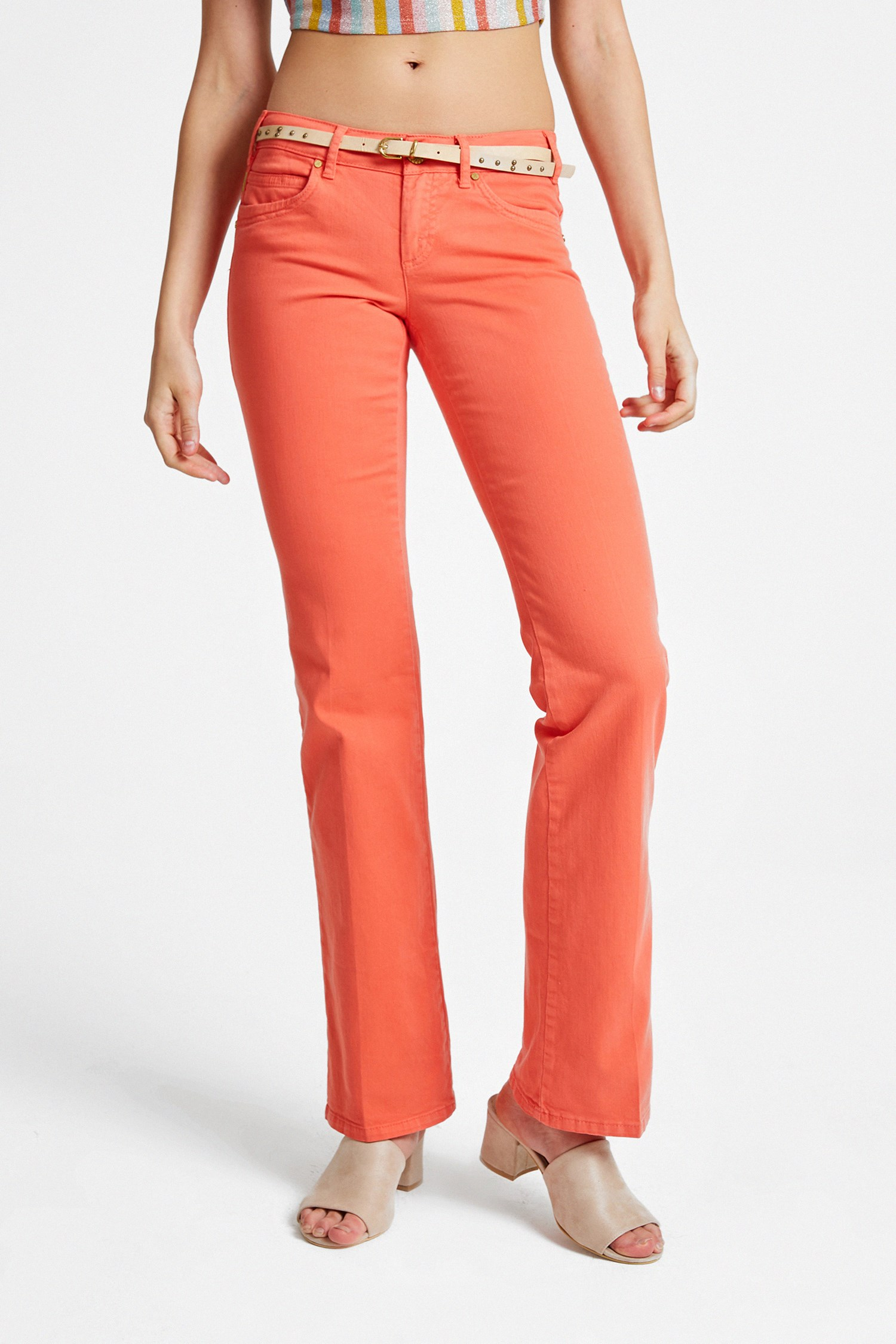 Women Orange Boot Cut Pants