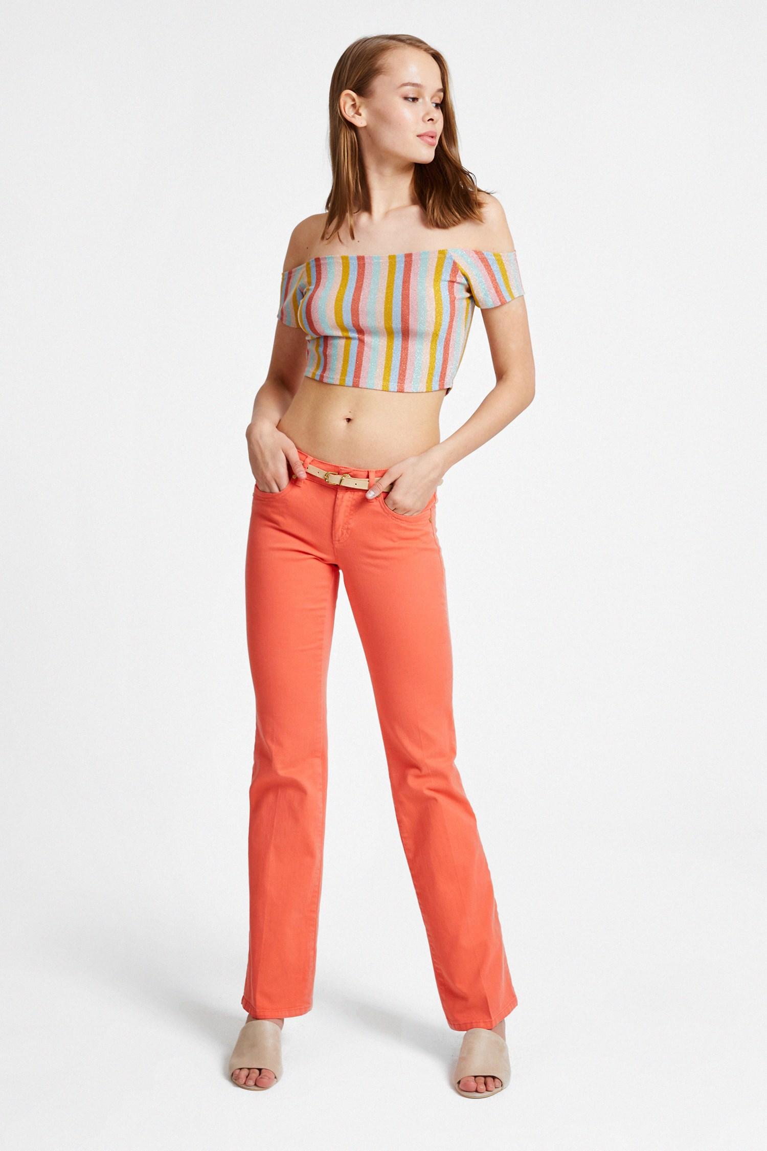 Bayan Turuncu Düşük Bel Bol Paça Pantolon