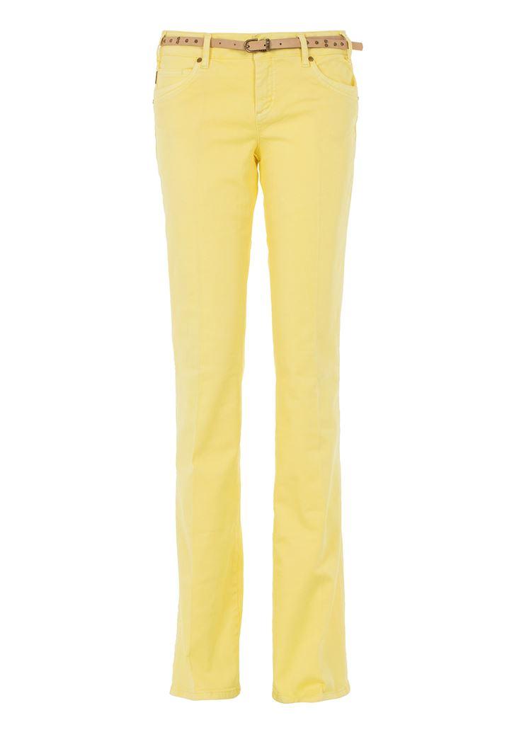 Sarı Düşük Bel Bol Paça Pantolon